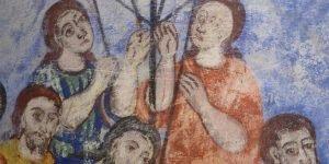 """Детайл от северната стена в хр.""""Св.Харалампий"""" преди реставрация"""
