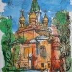 """""""Руската църква в София"""" рисунка, акварел - автор Стефан Стефанов"""