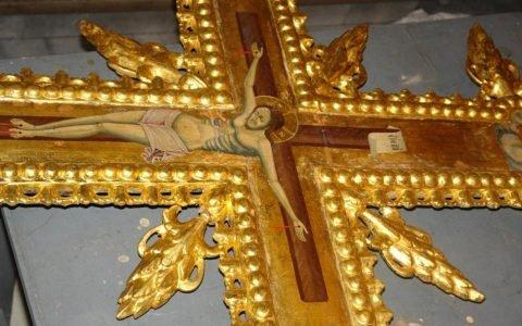 Детайл от кръста в храм Св. Георги след реставрация