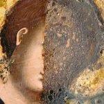 Детайл по време на реставрация - сваляне на препис върху главата
