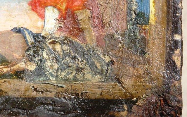 Детайл преди реставрация - долния ляв ъгъл