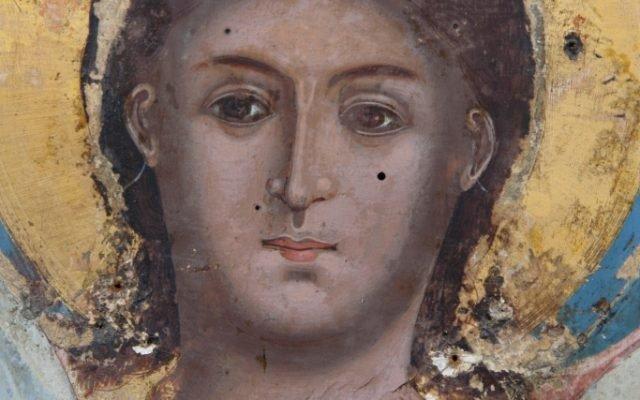 Иконата Архангелски сбор - детайл по време на реставрация-2