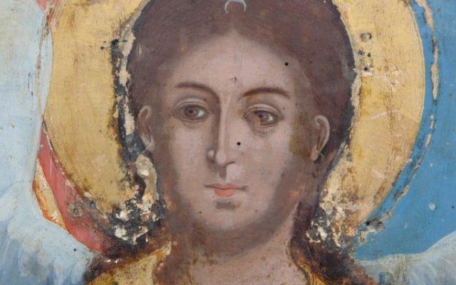 Иконата Архангелски сбор - детайл по време на реставрация-3