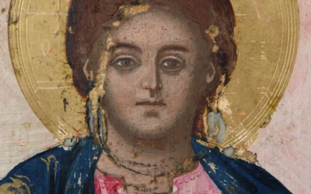 Иконата Архангелски сбор - детайл по време на реставрация-5
