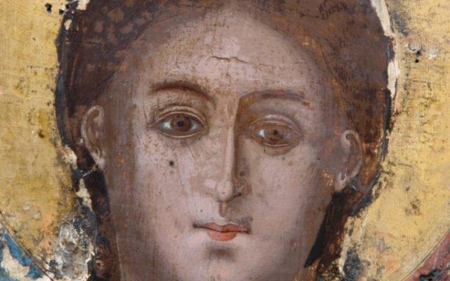 Иконата Архангелски сбор - детайл по време на реставрация
