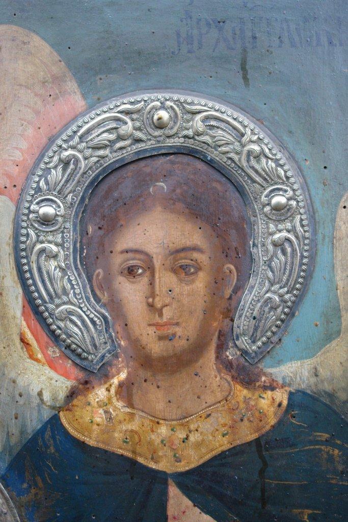 Иконата Архангелски сбор - детайл преди реставрация-3