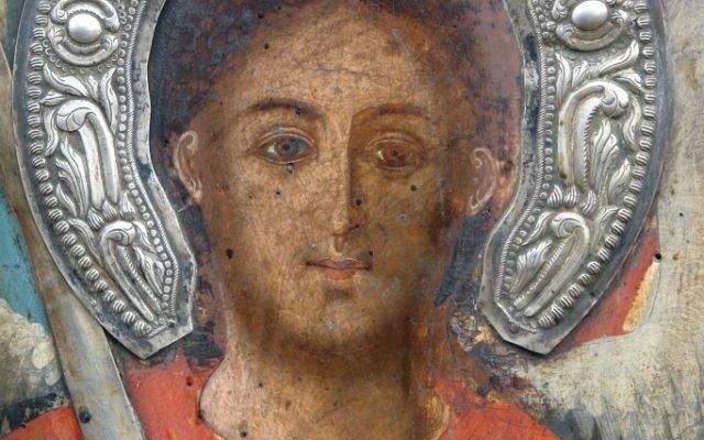 Иконата Архангелски сбор - детайл преди реставрация