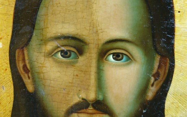 Иконата Иисус Христос - детайл по време на реставрация