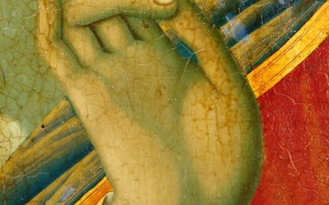 Иконата Иисус Христос - детайл преди реставрация-2