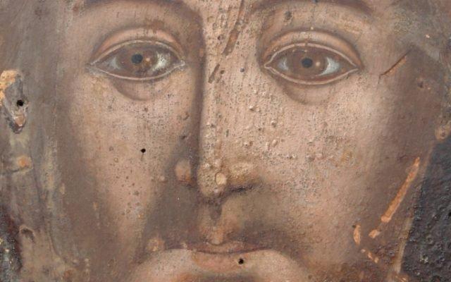 Иконата Иисус Христос - детайл след почистване-2
