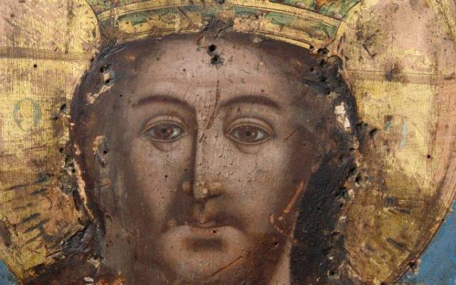 Иконата Иисус Христос - детайл след почистване