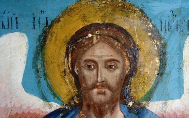 Иконата Йоан Кръстител - детайл по време на реставрация