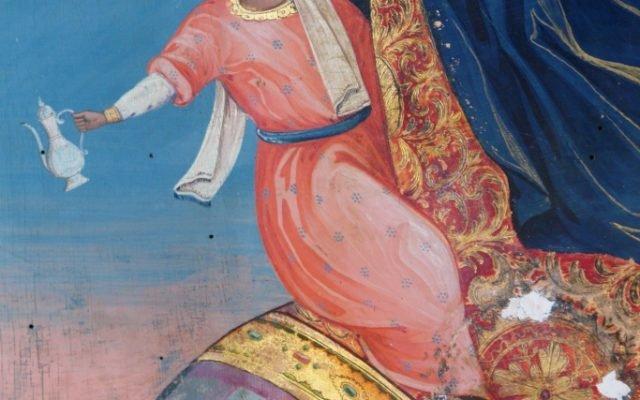Иконата Св. Георги - детайл по време на реставрация с китове