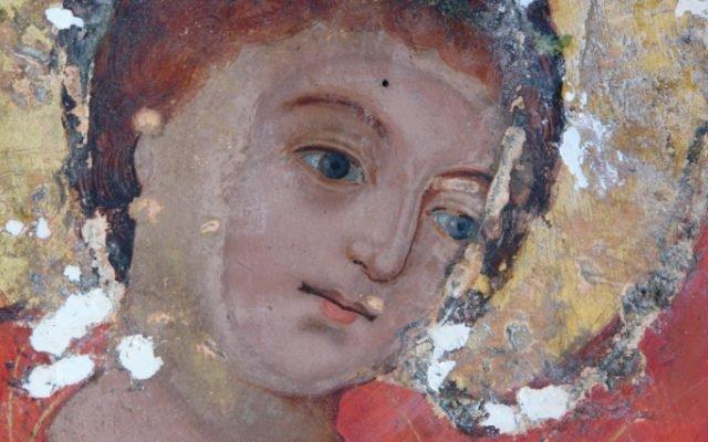 Иконата Св. Георги - детайл по време на реставрация