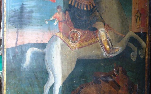 Иконата Св. Георги - по време на реставрация