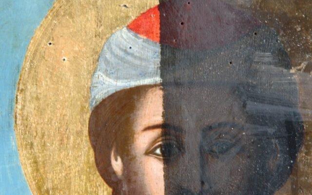 Иконата Св. Моисей - детайл по време на реставрация