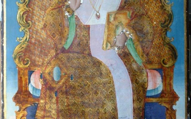 Иконата Св. Николай детайл по време на реставрация - с китове