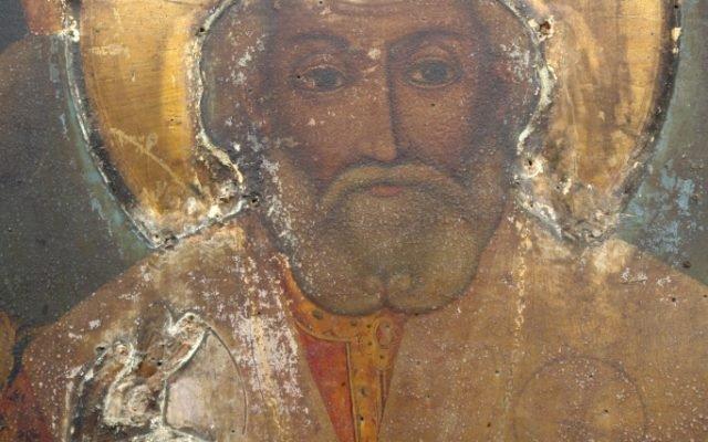 Иконата Св. Николай детайл преди реставрация - без обков