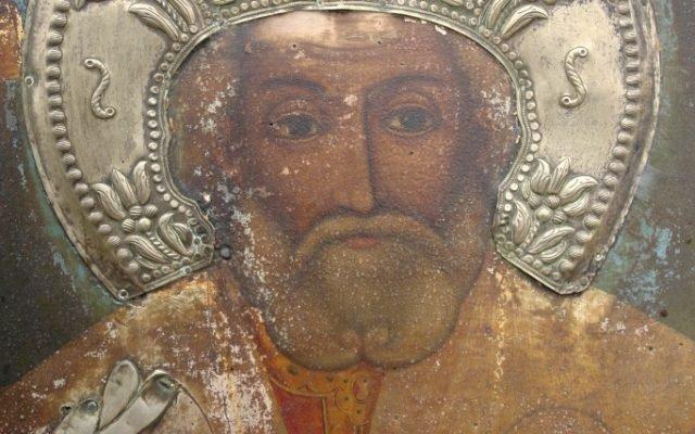 Иконата Св. Николай детайл преди реставрация