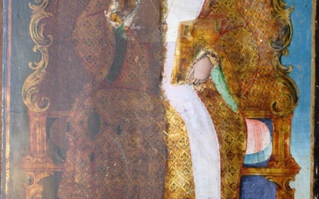 Иконата Св. Николай по време на реставрация