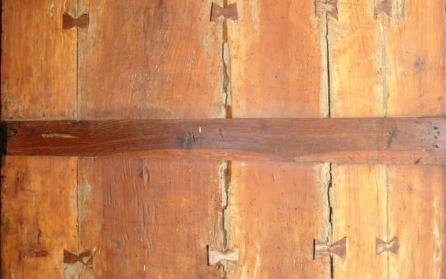 Иконата Св. Св. Три светители гръб след реставрация