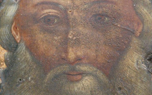 Иконата Св. Св. Три светители детайл преди реставрация