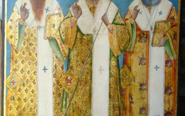Иконата Св. Св. Три светители след реставрация