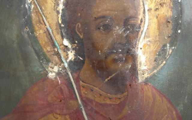 Иконата Св. Теодор Тирон - детайл преди реставрация-2