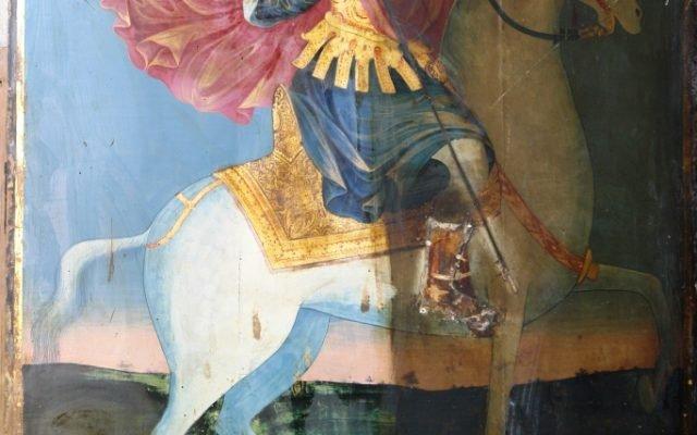 Иконата Св. Теодор Тирон - по време на реставрация