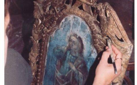 Китрата на иконостаса по време на реставрация - почистване