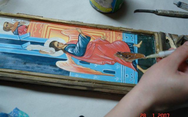 По време на работа на царските двери в храм Св. Св. Петър и Павел - София
