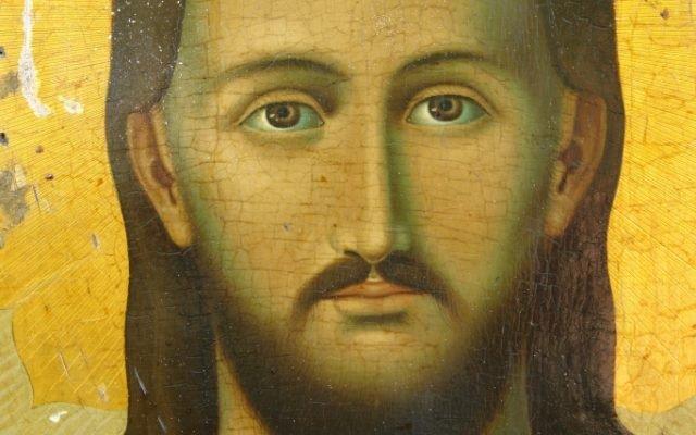 Иконата Иисус Христос - детайл преди реставрация
