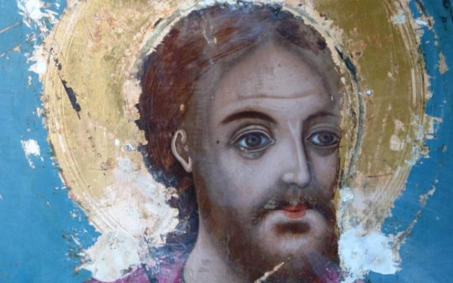 иконата Св. Теодор Тирон - детайл по време на реставрация-2