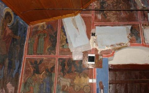 Детайл от западната стена по време на реставрация
