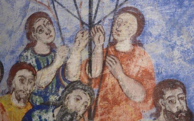 Детайл от северната стена в хр. Св. Харалампий преди реставрация