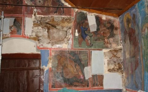 Западната стена по време на реставрация - след сваляне на стенописи