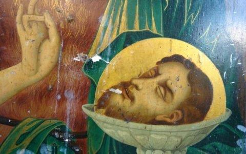 Иконата Йоан Кръстител - детайл преди реставрация-2