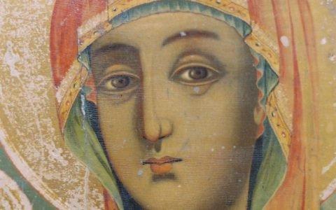 Иконата Св.Богородица детайл преди реставрация