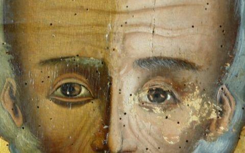 Иконата Св.Николай - детайл по време на реставрация