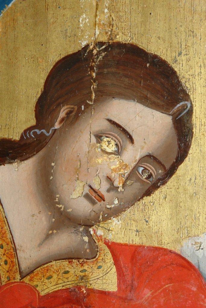 Иконата Св. Арх. Михаил - детайл по време на реставрация