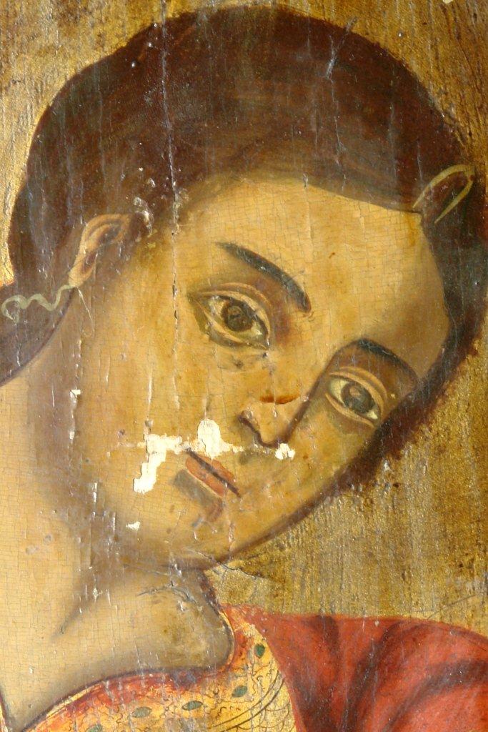 Иконата Св. Арх. Михаил - детайл преди реставрация
