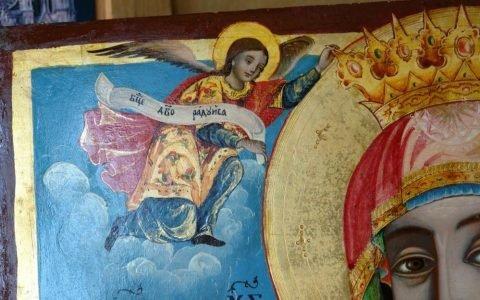 Иконата Св. Богородица детайл след реставрация-4