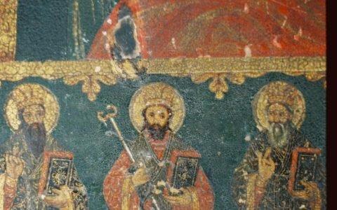 Иконата Св. Богородица с петима светци детайл преди реставрация-2
