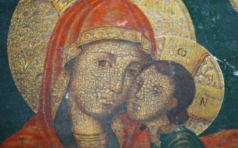 Иконата Св. Богородица с петима светци детайл преди реставрация
