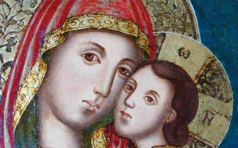 Иконата Св. Богородица с петима светци детайл след реставрация