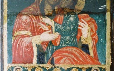 Иконата Св. Богородица с петима светци по време на реставрация