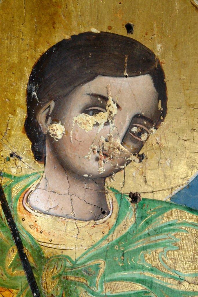 Иконата Св. Димитър - детайл по време на реставрация