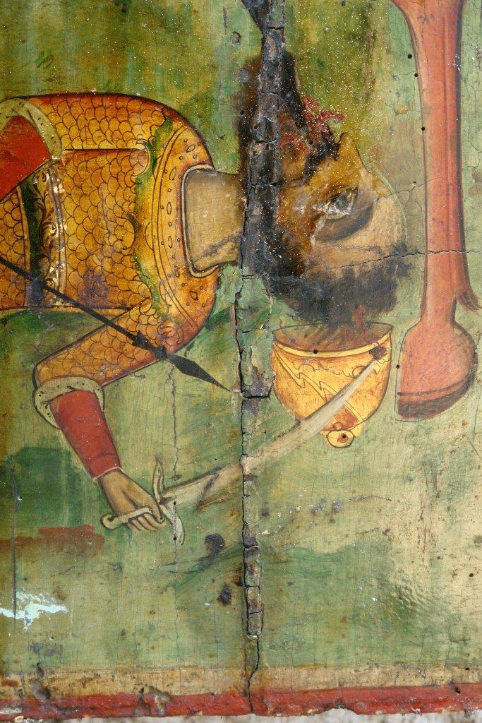 Иконата Св. Димитър - детайл преди реставрация
