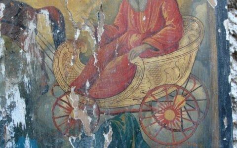 Иконата Св. Пророк Илия детайл преди реставрация-3