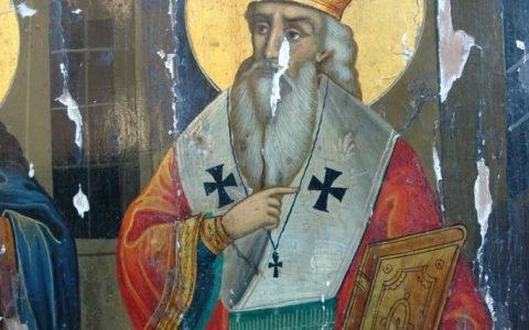 Иконата Св. Св. Кирил и Методий детайл преди реставрация-2